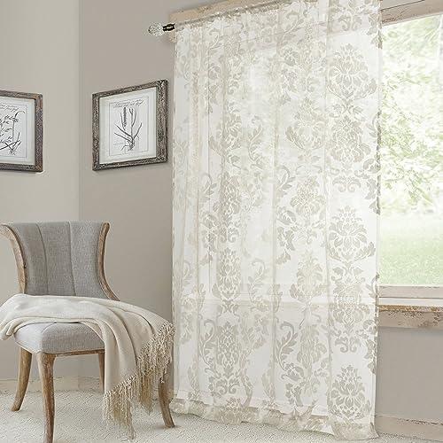Elrene Home Fashions Valentina Sheer Window Panel, 52 W x 108 L 1, White