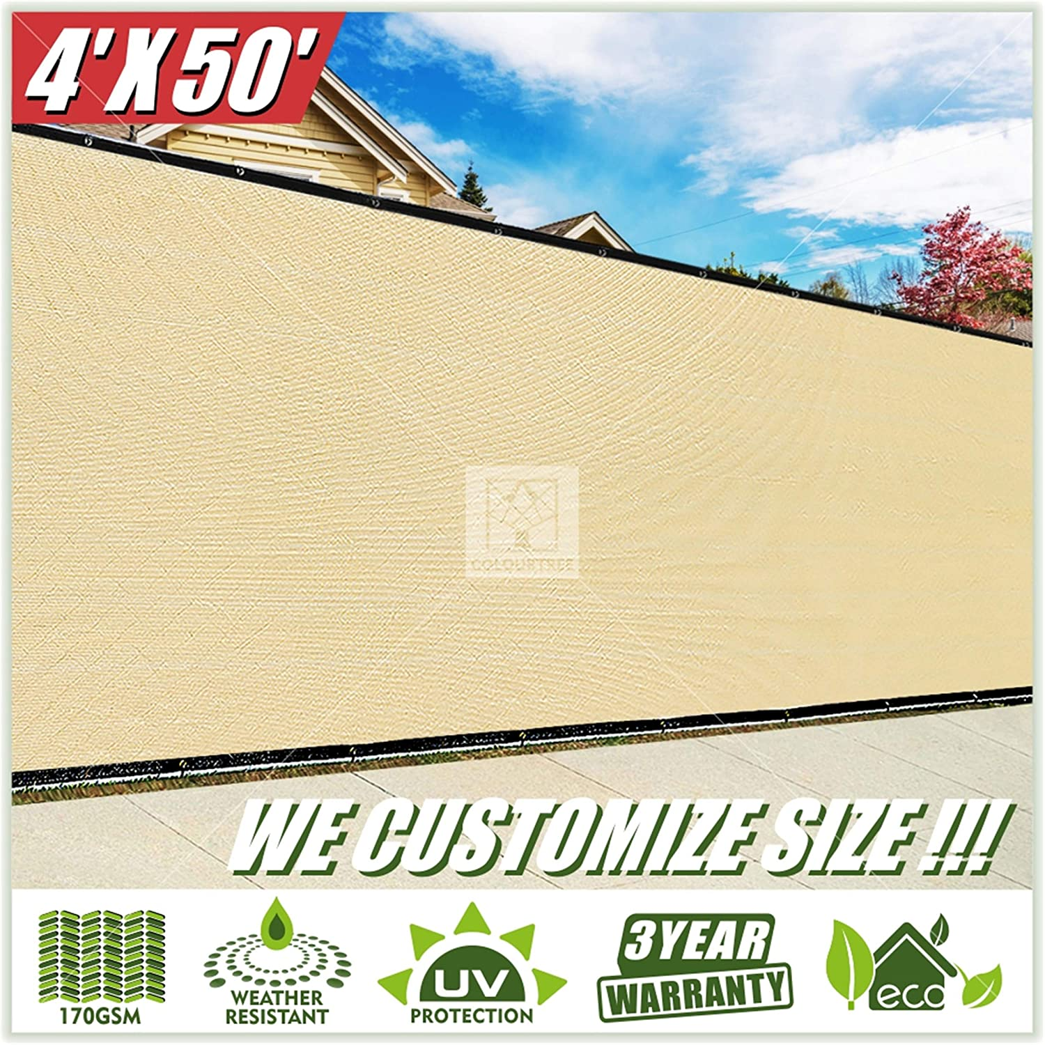 ColourTree 4' x 50' Beige Fence Privacy Screen Windscreen, Commercial Grade 170 GSM Heavy Duty, We Make Custom Size