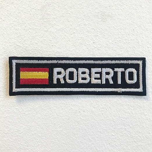 Parche bordado con la bandera de España con insignia de Roberto para planchar o coser: Amazon.es: Hogar