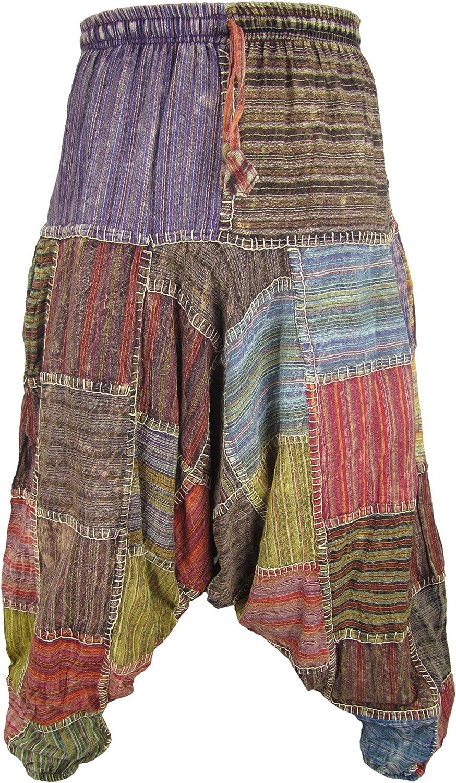 Gheri Men's Multicolored Patchwork Elastic Waist Harem Genie Pants Trousers
