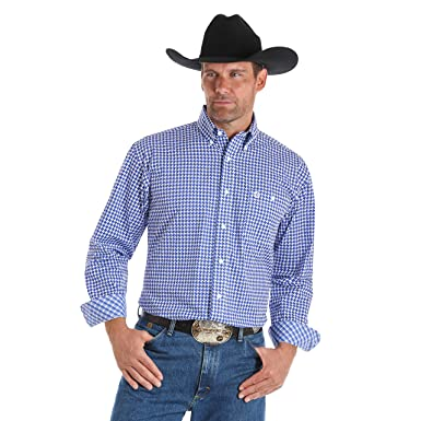 3a530a7e Wrangler Men's George Strait by Print Long Sleeve Western Shirt at Amazon  Men's Clothing store: