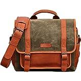LE PETIT REPORTER Toile Vert Kaki sac appareil photo en toile huilée imperméable et en cuir style vintage intérieur modulable PAUL MARIUS