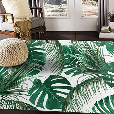 Alaza Tropical Palm Tree Leaves Jungle Leaf Green Area Rug Rugs For Living Room Bedroom 7 X 5 Home Kitchen