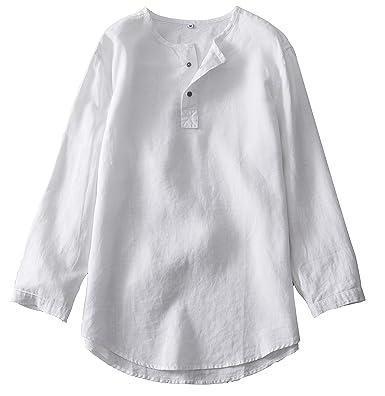 ded732a221674 Insun Homme Chemise Été Henley Shirt en Lin Manches 3/4: Amazon.fr ...