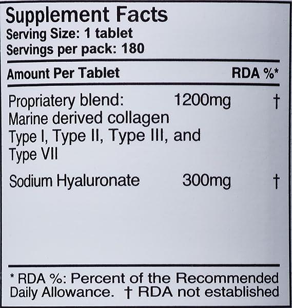 1500 mg en 180 tabletas, 1200 mg de colágeno y 300 mg de ácido hialurónico por tableta, (Suministro para 3 meses), (UCHL3): Amazon.es: Belleza