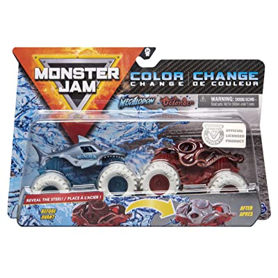 MonsterJam 1:64 Scale Color Change Megalodon Vs Octon8er: Toys & Games