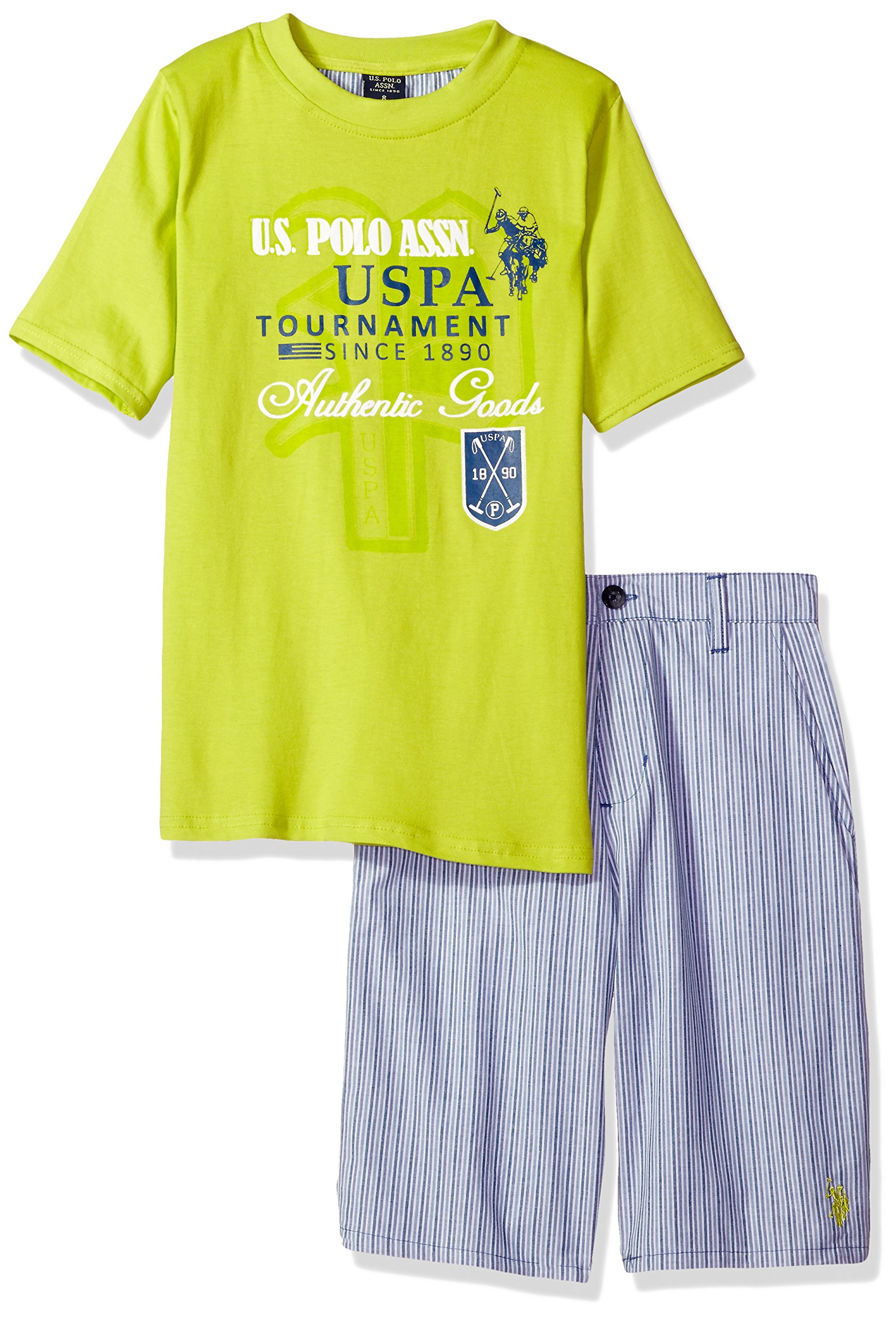U.S. Polo Assn. Little Boys' Toddler Striped Cotton Short and 2-fer Look Graphic T-Shirt, Plaid, 3T