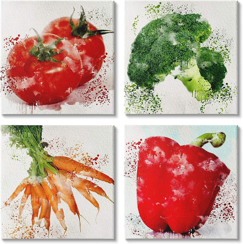 Each 17 x 17 Stupell Industries Splash Color Farm Vegetables Red Green Orange Design by Kim Allen Canvas Wall Art 4pc White