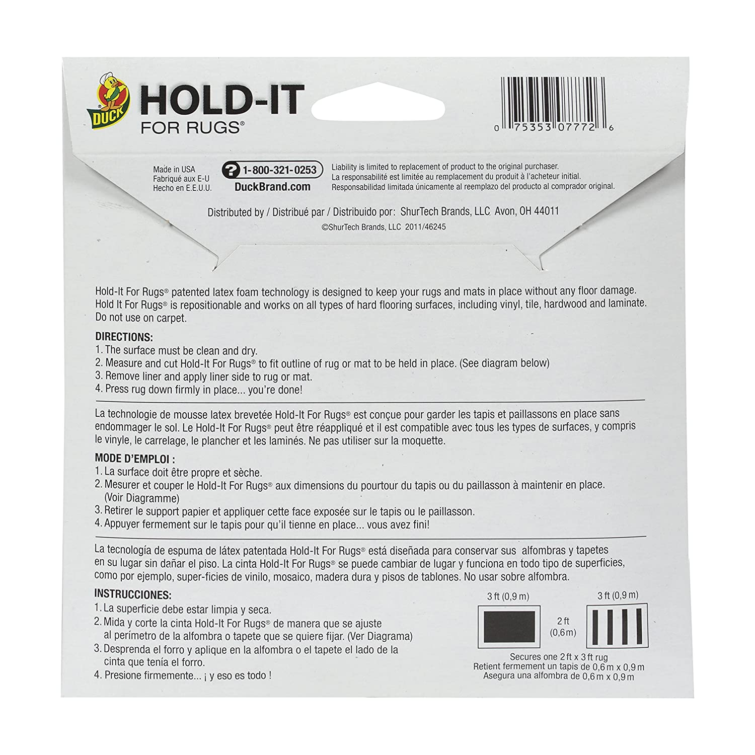 Duck 260485 Hold-It Adhesive for Rugs 10x 20 Sheet