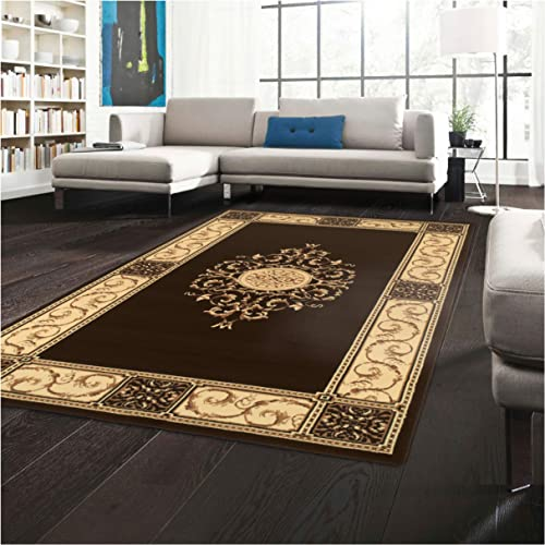 Superior Elegant Medallion Area Rug, 6 x 9 , Coffee