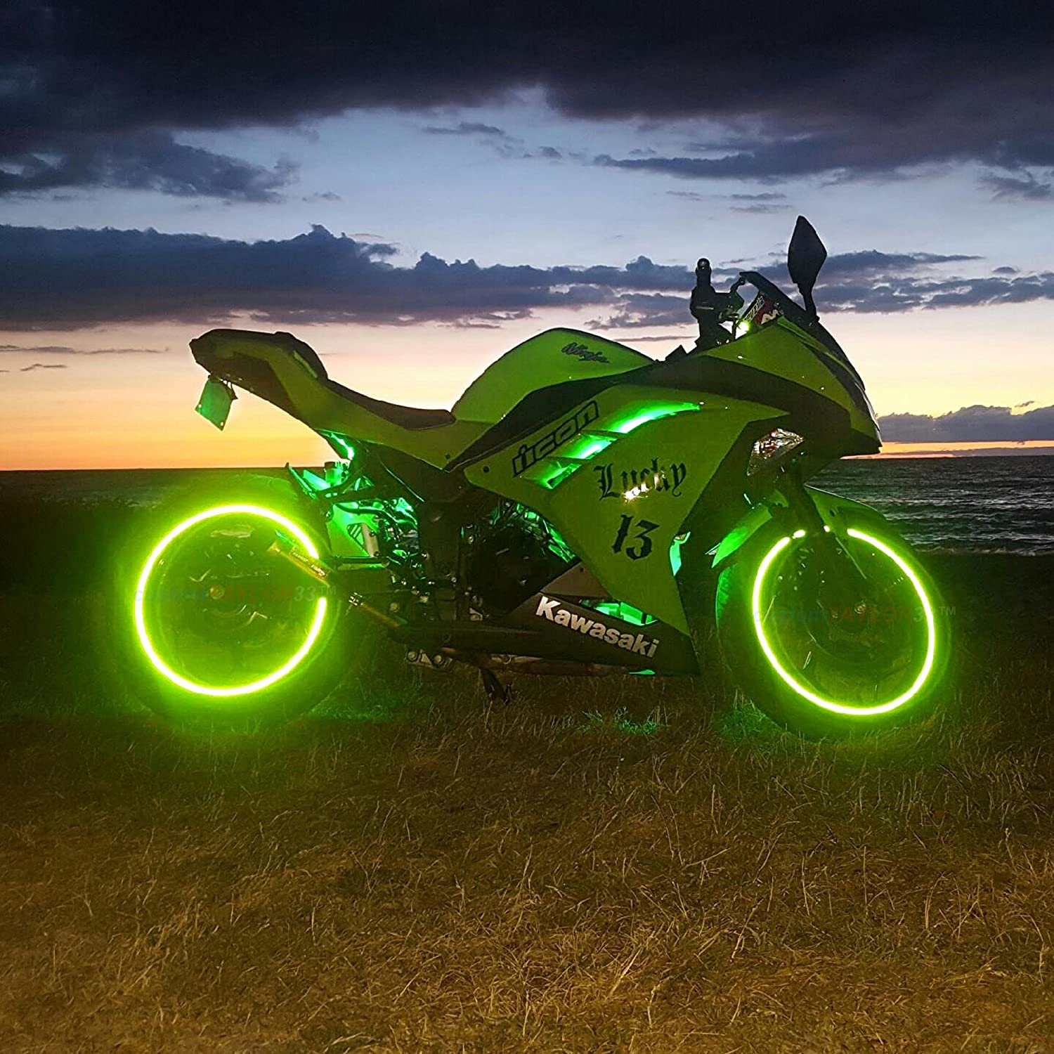 Combination Rim Size customTAYLOR33 New Special Edition Lime Green High Intensity Grade Reflective Copyrighted Safety Rim Tapes 17//18
