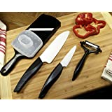 Kyoto by Kyocera 4 Piece Ceramic Knife Set with Santoku, Paring Knife, Adjustable Slicer and Peeler