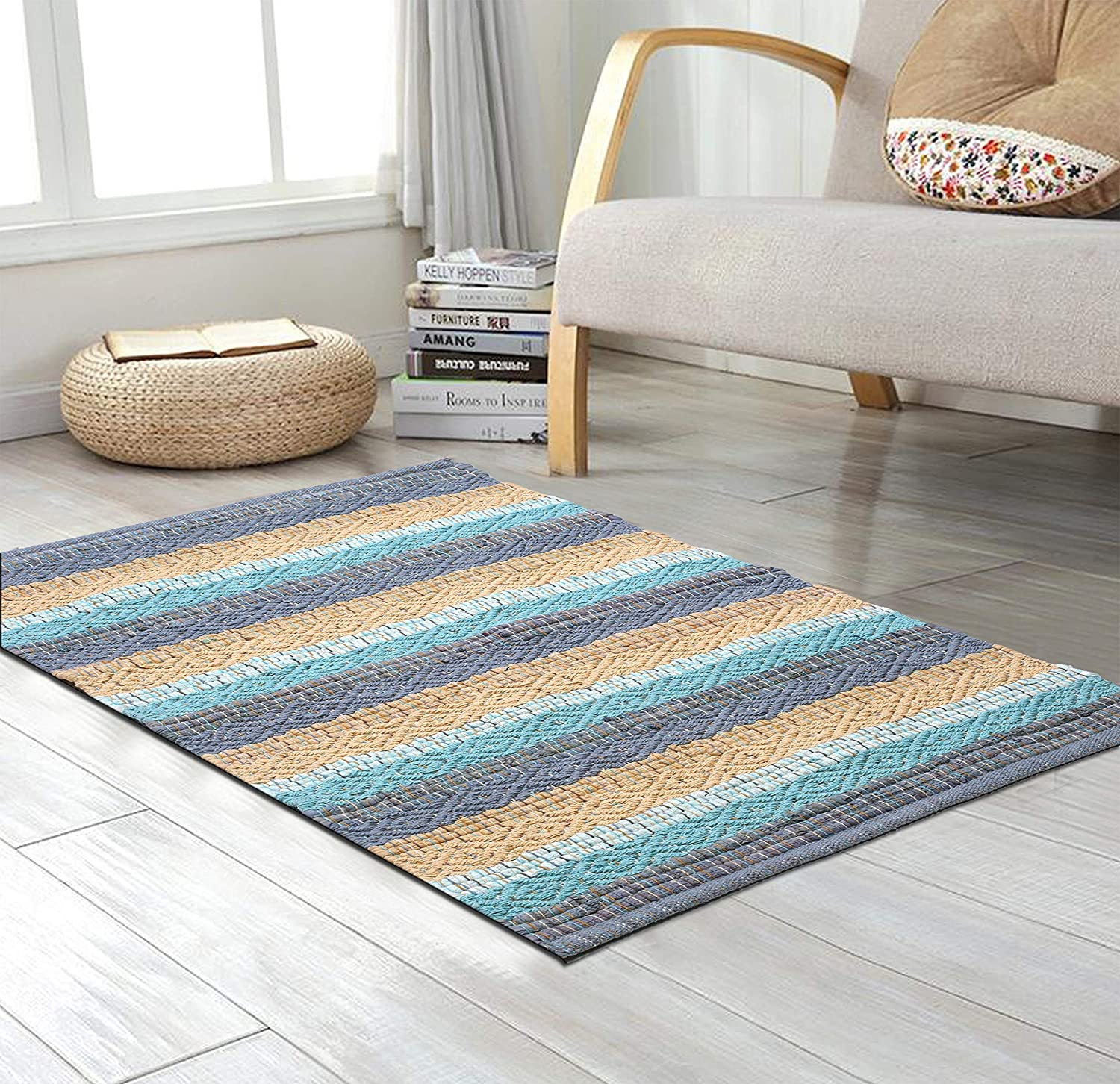 Cotton Rugs in Diamond Weave 24x36 inch Spa Blue Combo,Cotton Area Rugs,Indoor Out Door Rugs 2'x3',Rugs for Living Room, Machine Washable Rugs,Hand Woven & Kitchen Entryway Rug