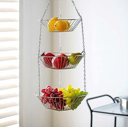 amazon com deppon wire hanging fruit basket 3 tiered detachable rh amazon com