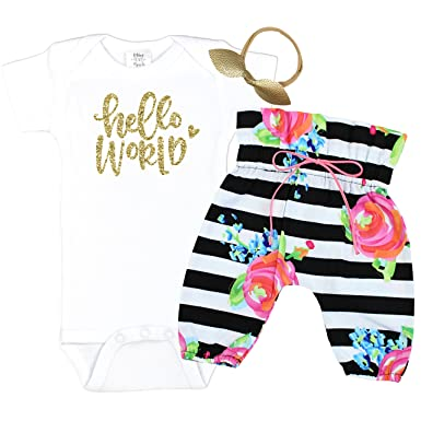 82777bb22 Girls Baby Take Home Outfit Black and White Striped Pants Baby Girl Coming  Home Set Hello