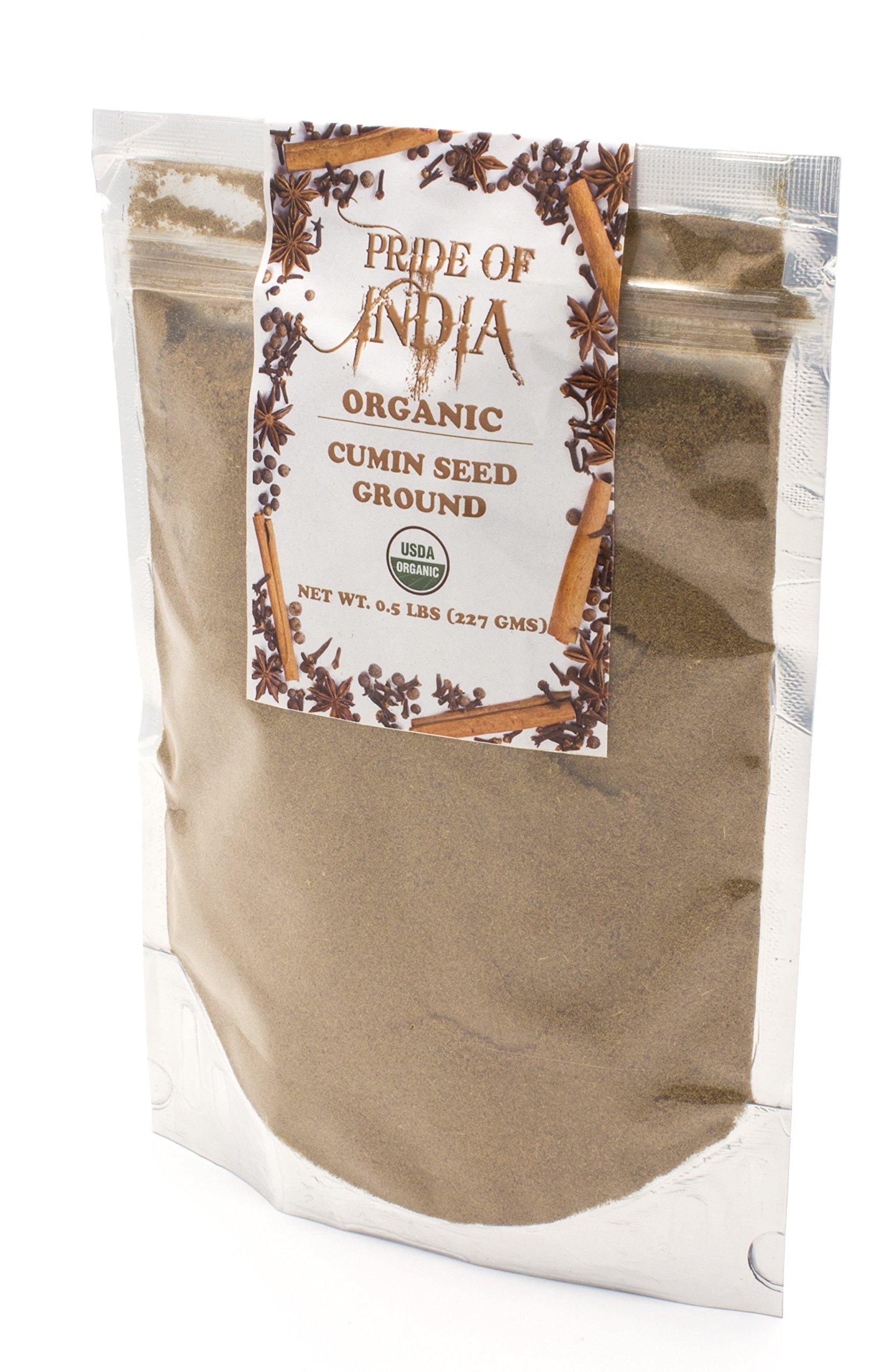 Pride Of India - Organic Cumin Seed Ground (Powder, Extra Fine), Half Pound