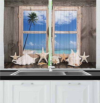 Ambesonne Beach Decor Kitchen Curtains Summer Holiday Wih Seashells Starfish Palm Tree Ocean Print
