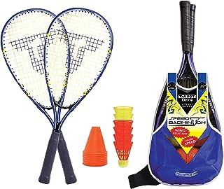 Talbot Torro Speed-Badminton Set Speed 6000, tolles Komplettset, 2 kraftvolle Alu-Rackets 58,5cm, 6 windstabile Bälle, Cones zur Spielfeldmarkierung, im trendigen Rucksack, 490106