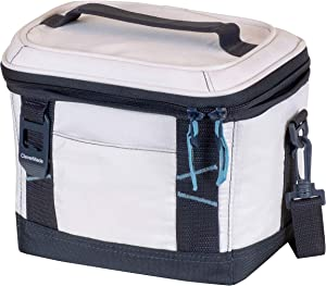 CleverMade Collapsible Soft Cooler Bag Tote - Insulated 6 Can Leakproof Small Cooler Box with Bottle Opener and Shoulder Strap for Lunch, Beach, and Picnic - Cream