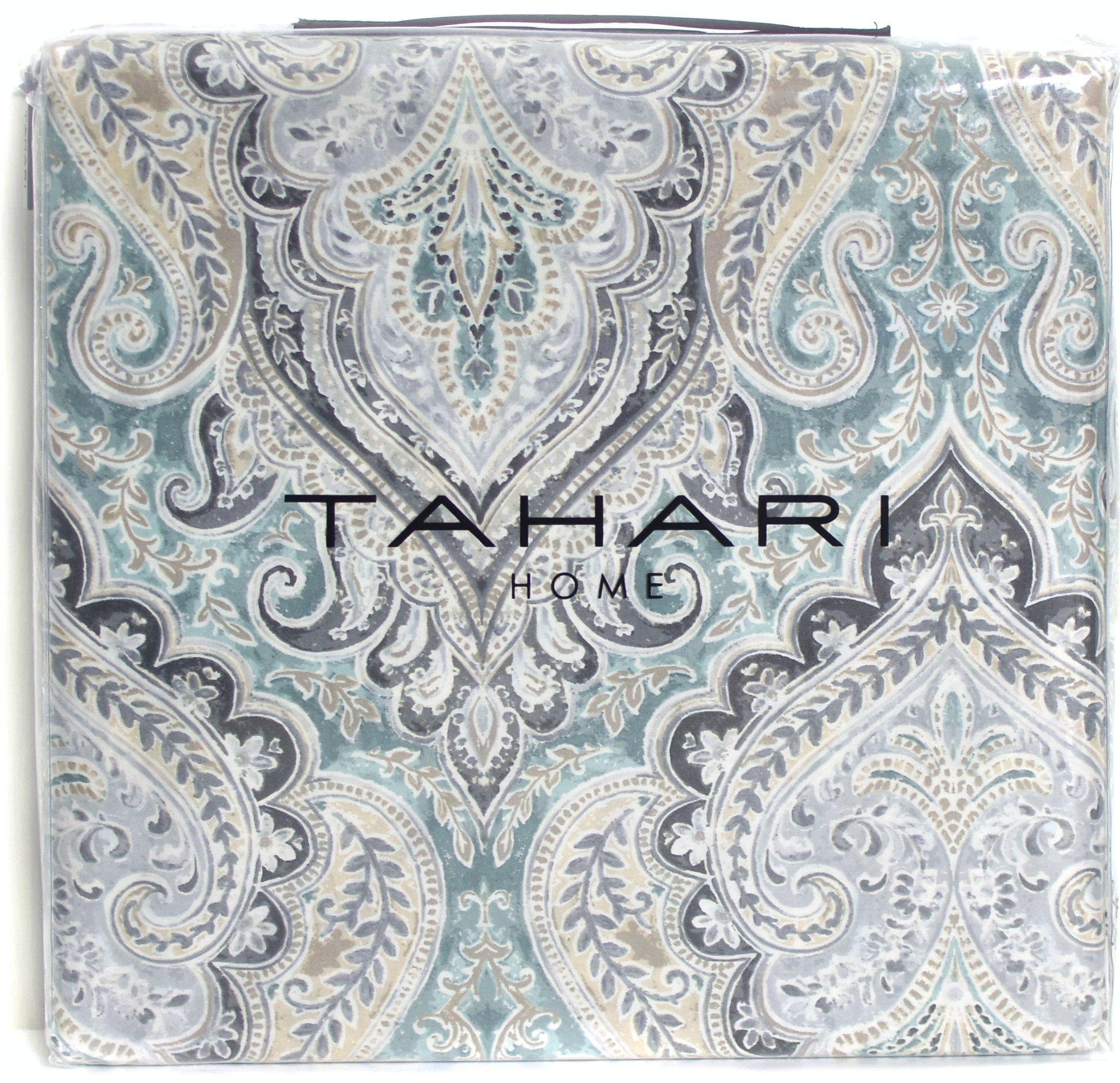 Tahari Home Luxury Bohemian Duvet Cover Luxury Boho Style Medallion Print in Blue Grey 3 Piece Bedding Set (Queen, Spa)