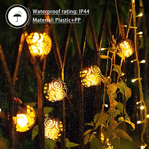 Solar String Lights, 23ft LED Outdoor Flame String Lights Waterproof Solar Patio Lights with 6 Flame Ball for Patio, Garden, Gazebo, Yard, Outdoors