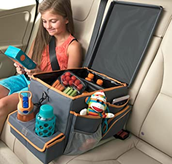 high road kids car seat cooler and back seat organizer with snack play tray
