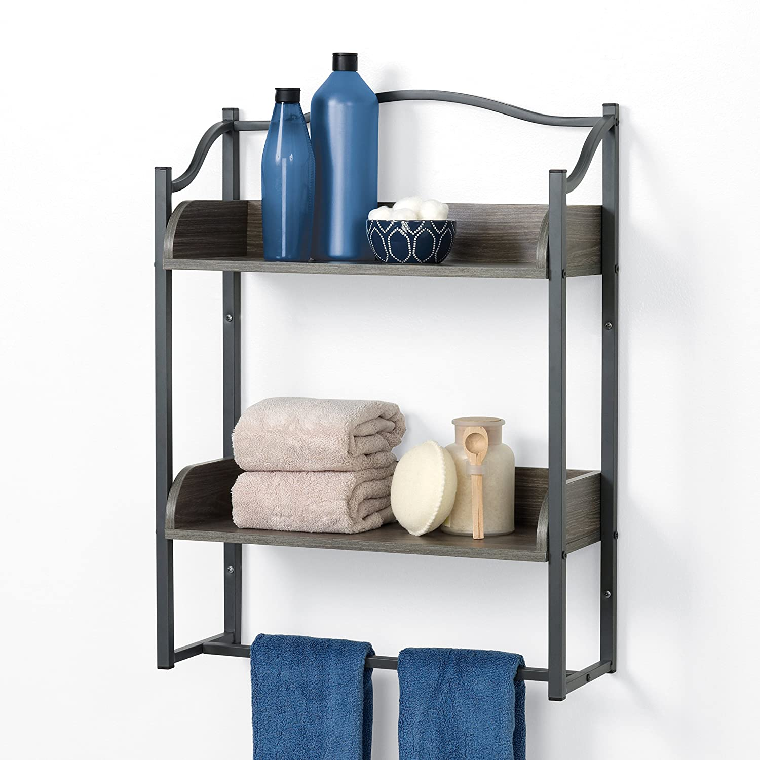 Driftwood Gray//Pewter Zenith Home Corp 8765GY Zenna Home 3-Tier Over-The-Toilet Bathroom Spacesaver
