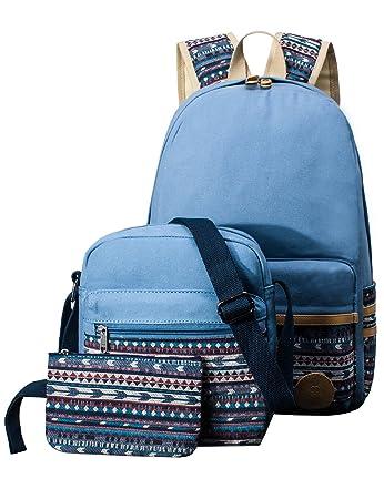 271f19afd6e Amazon.com: Canvas School Backpack 3pcs Set for kids, Laptop Rucksack Book Shoulder  Bag Pencil Bag: Clothing