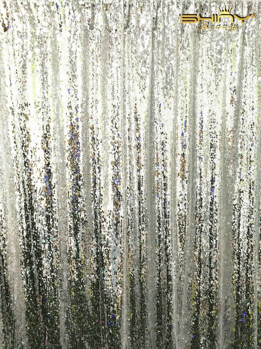 ShinyBeauty 8FTx8FT-Mermaid-Silver-Sequin Curtain Backdrop,Reversible Sequin Fabirc Photography Backdrops For Photo/Wedding/Party/Event/Prom/Birthday by ShinyBeauty