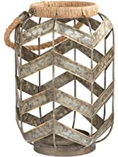 Stone & Beam Vintage Farmhouse Metal and Rope Decorative Candle Holder, ...