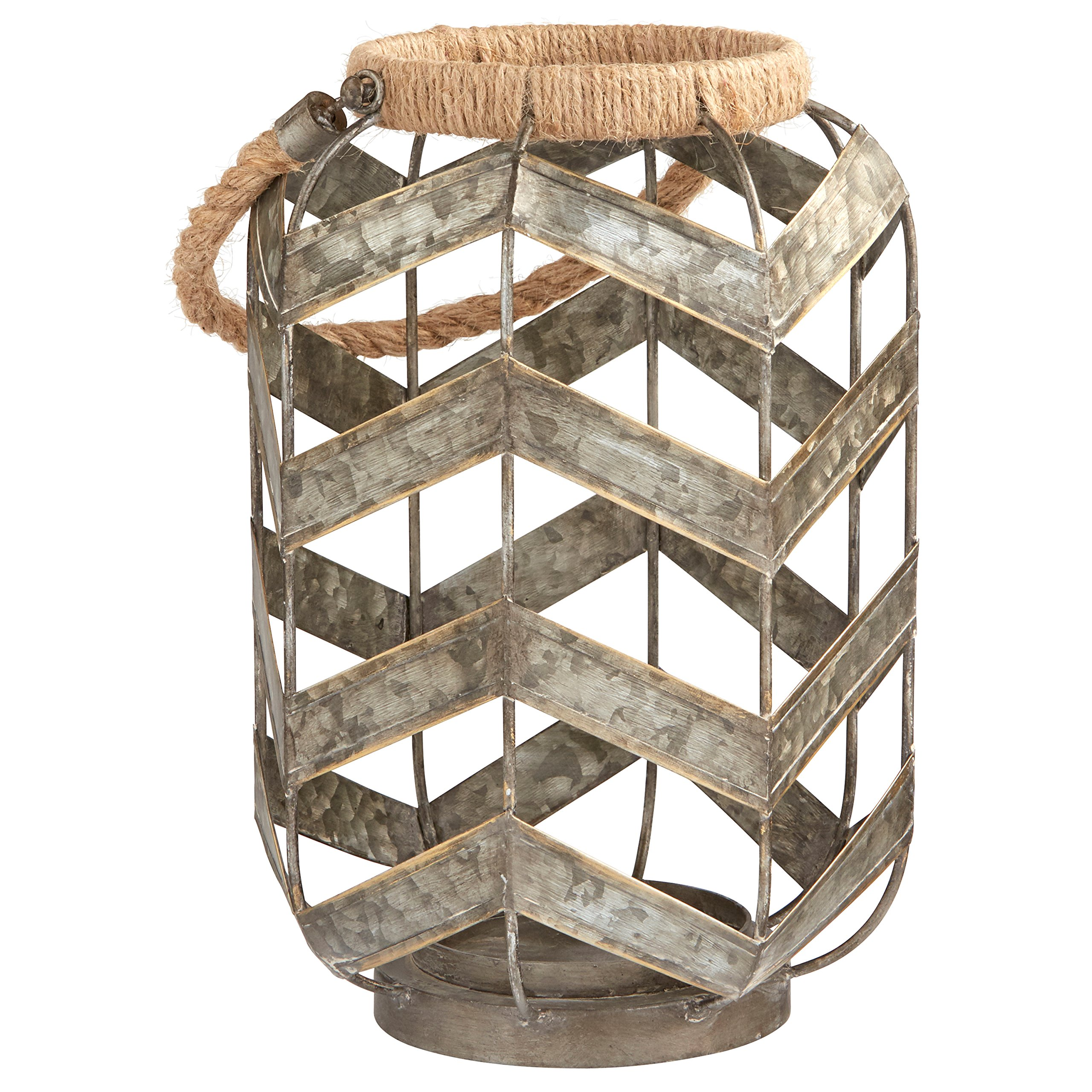 Stone & Beam Vintage Farmhouse Metal and Rope Decorative Candle Holder, 19'' H, Grey