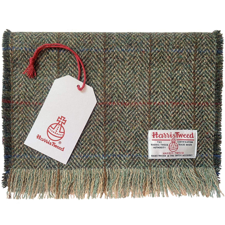 Harris Tweed Pure Wool Luxury Green /& Fawn Herringbone Fringed Scarf
