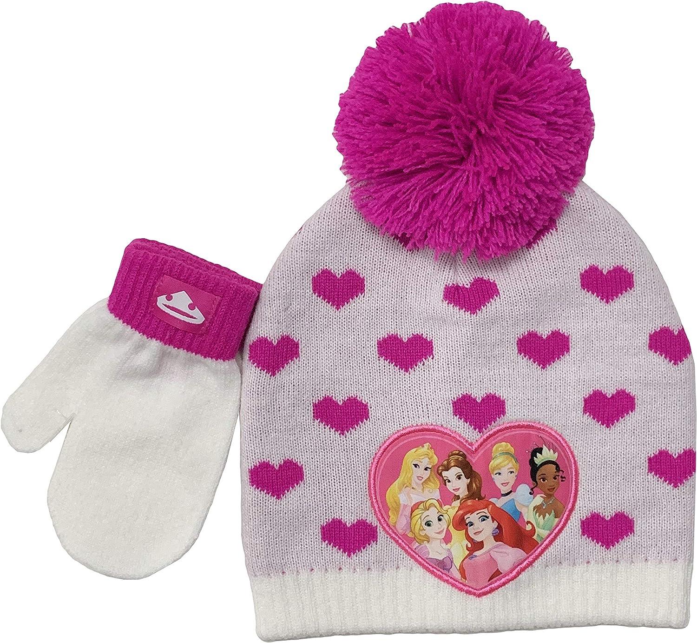 Disney Princess Belle Cinderella Ariel Girls Toddler Hat Mittens Set Grey