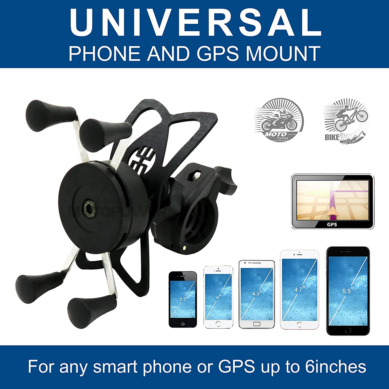 for Any Smartphone /& GPS Universal Mountain /& Road Bicycle Motorcycle Handlebar Cradle Holder MOTOPOWER MP0609B Bike Motorcycle Cell Phone Mount Holder