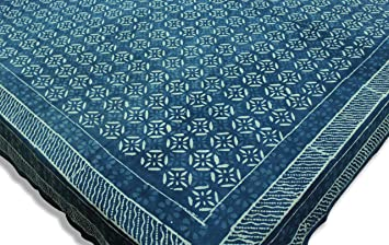 Cotton Natural Indigo Dye Dabu Double Bed Sheets King Queen Floral Design Block Print Rajasthani Bedspreads 87 x 102 Inches