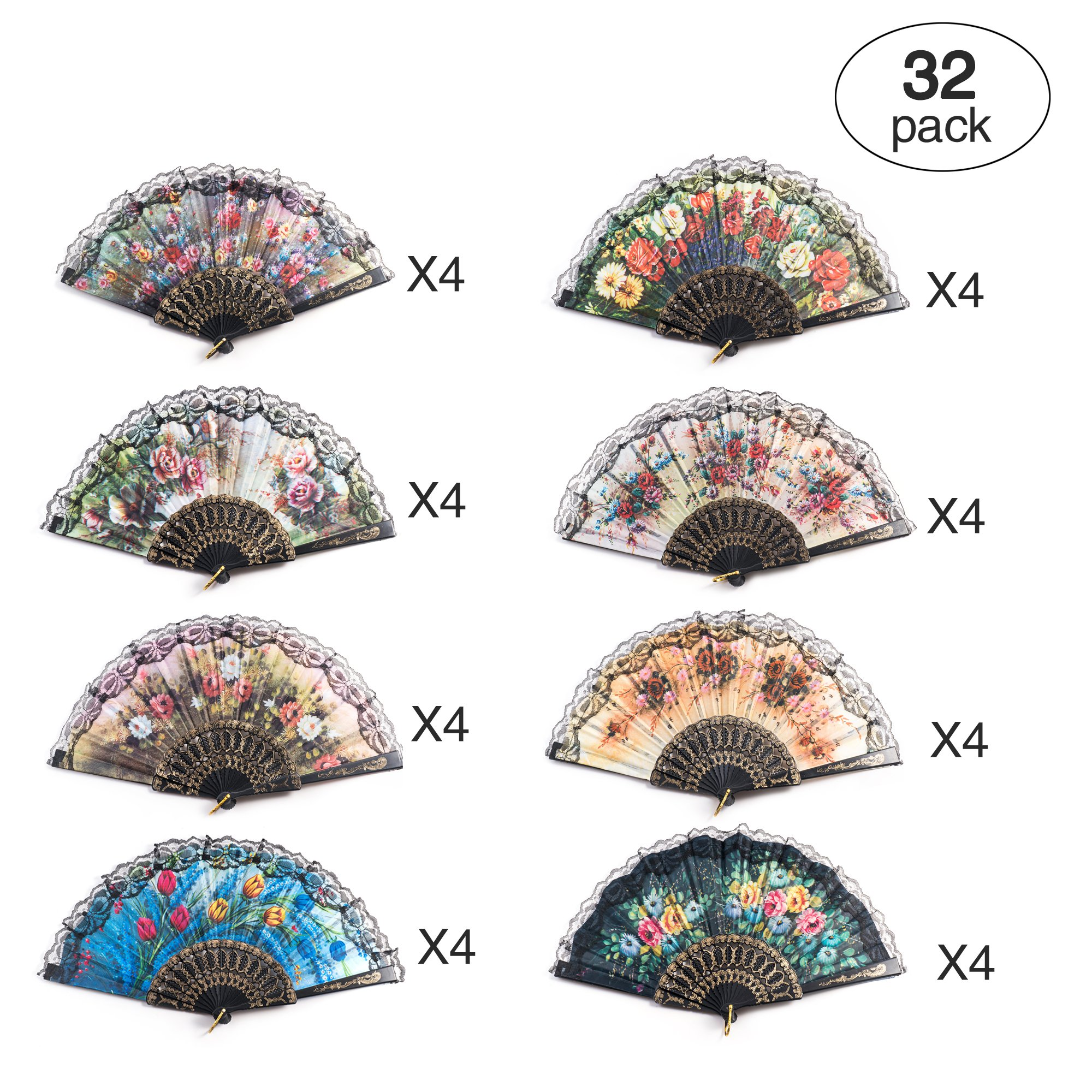 32 Pack Spanish Floral Folding Hand Fan Women Vintage Retro Pattern Fabric Fans (8 different patterns)
