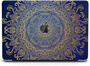 Wonder Wild Case for MacBook Air 13 inch Pro 15 2019 2018 Retina 12 11 Apple Hard Mac Protective Cover Touch Bar 2017 2016 2020 Plastic Laptop Print Golden Ornament Blue Mandala Flower Bohemian Motif
