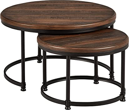 Amazon Com Amazon Brand Stone Beam Wood And Metal Round Nesting Side End Tables 34 W Set Of 2 Pine Furniture Decor
