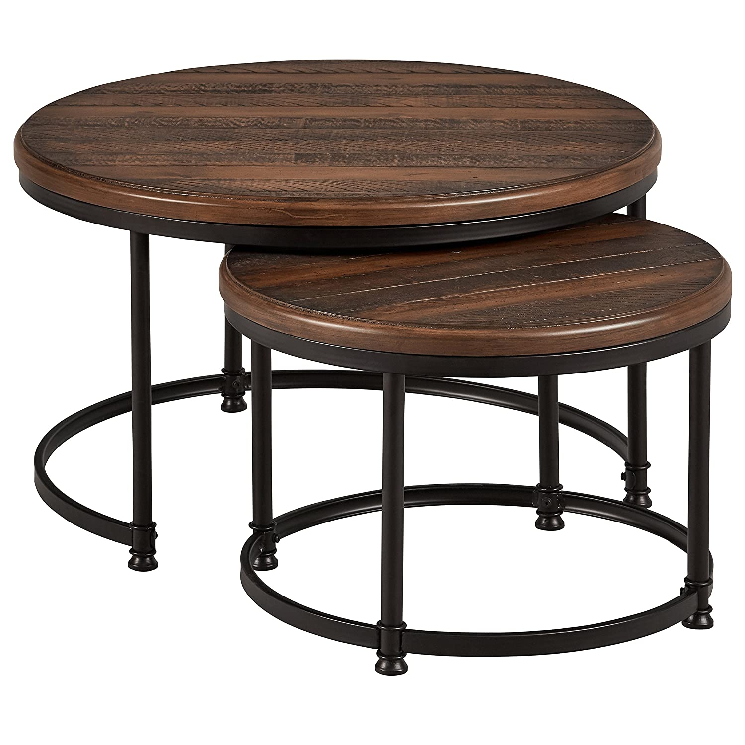 "Stone & Beam Wood and Metal Nesting Tables, 34""W, Pine"