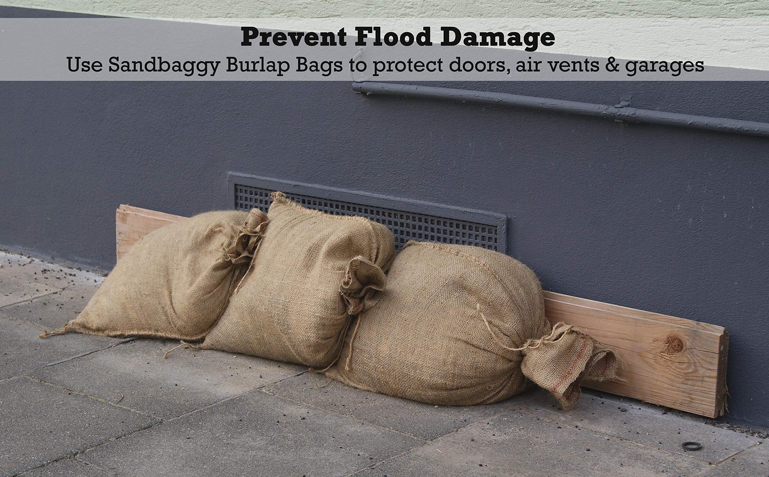 Sandbaggy Burlap Sand Bag - Size: 14'' x 26'' - Sandbags 50lb Weight Capacity - Sandbags for Flooding - Sand Bag - Flood Water Barrier - Water Curb - Tent Sandbags - Store Bags (5 Bags) by Sandbaggy (Image #4)