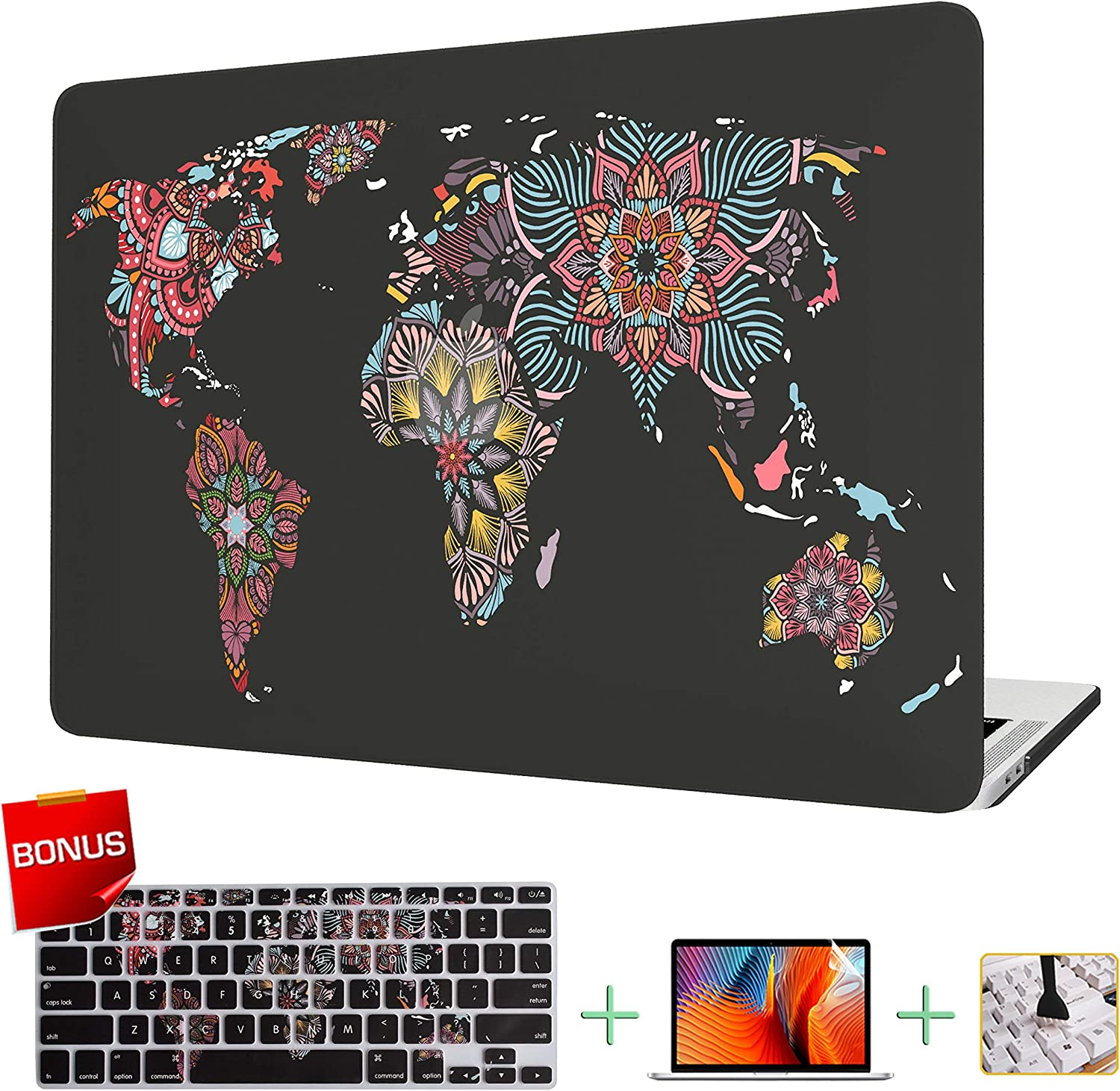 """VAESIDA MacBook Pro 13 Inch Case, Ultra Thin Hard Laptop Cover Case Shell Set Only Compatible with New Mac Pro 13"""" Release 2016-2019 (Pro 13 Model A2159/A1706/A1708/A1989) (Mandala World Map)"""