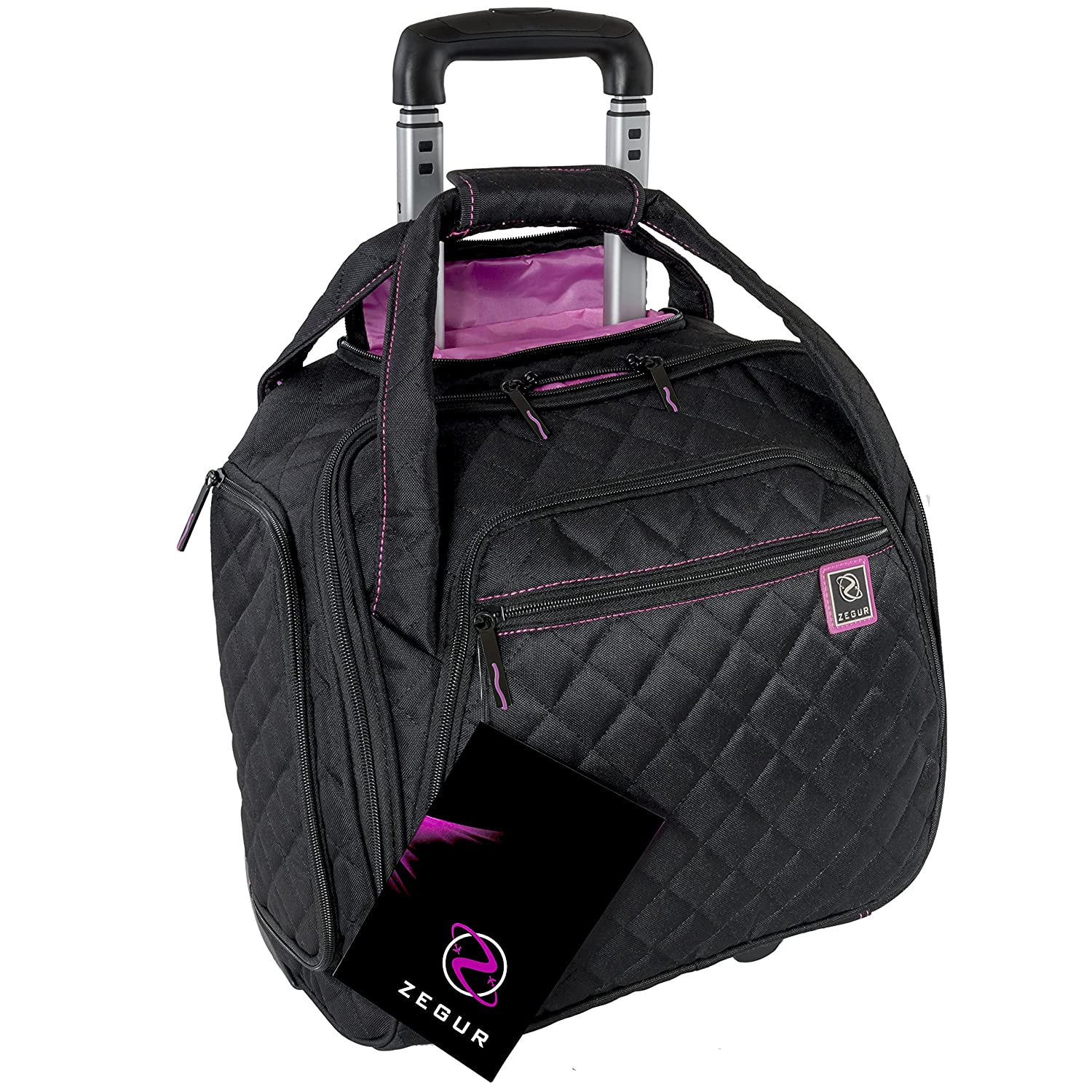 ZEGUR Quilted Rolling Underseat Carry-On Luggage – Wheeled Travel Tote Bag Black