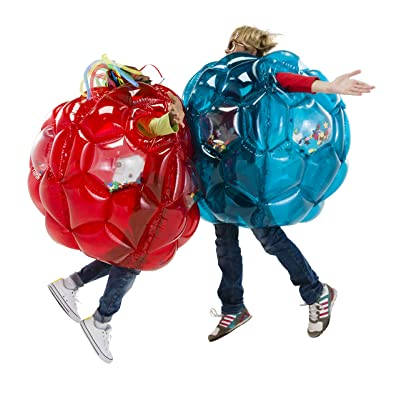 """HearthSong Set of Two 36"""" Red and Blue Bright Lights Inflatable Buddy Bumper Balls with Colorful Confetti and Motion Activated LED Lights, Holds Up to 150 lbs.: Toys & Games"""
