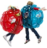 Set of 2 Red and Blue Bright Lights BBOP Buddy Bumper Ball Colorful Confetti Filled Motion Activated LEDs Inflatable Blow Up Body Bubble Suit Heavy Duty PVC Vinyl 36'' Inches Diameter