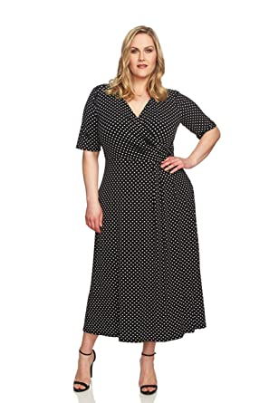 64f85ab5fa6 CHAUS NEW YORK Plus Size Womens Dot Print Dress with Flutter Sleeve   Knot  Front at Amazon Women s Clothing store