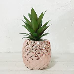 "Artificial Potted Succulent 7.8"" Pineapple Home Deco Tabletop Decoration (Rose Gold)"