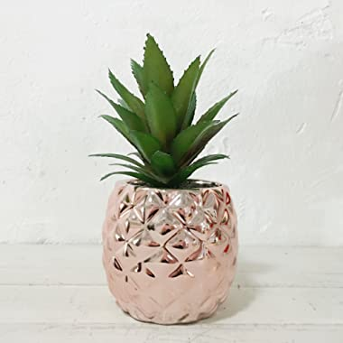 Artificial Potted Succulent 7.8  Pineapple Home Deco Tabletop Decoration (Rose Gold)
