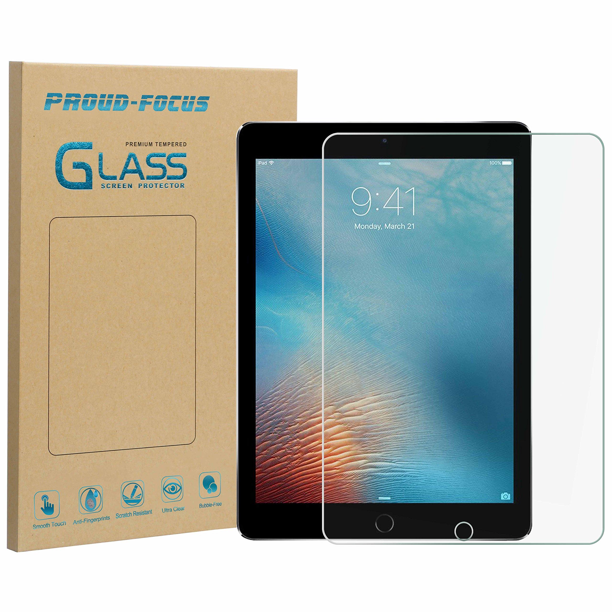 New iPad 9.7'' (2018/2017) / iPad Pro 9.7 / iPad Air 2 / iPad Air Screen Protector, Proud Focus Tempered Glass Screen Protector for iPad Air 2, iPad Air, iPad Pro 9.7 inch, 5th/6th Gen 2016 2017 2018