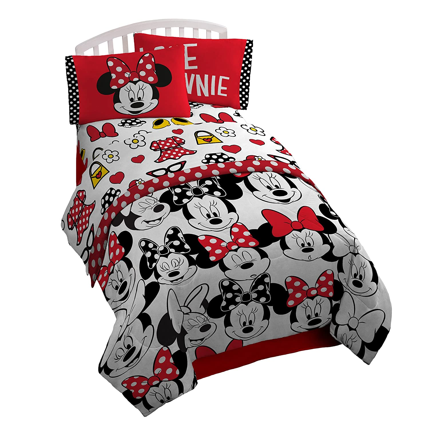Disney Minnie Mouse Dots Are New Black Microfiber 4 Piece Full Sheet Set Jay Franco and Sons Inc. JF28612ECD