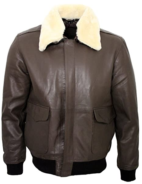 550dd2c8c9e Infinity Men s A2 Brown Sheep Nappa Leather Bomber Jacket with Detachable  Sheepskin Collar XS